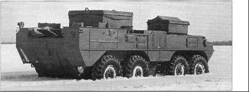 Самоход «Объект 1040» на испытаниях зимой 1964-1965 гг. Движение по снежной целине глубиной 0,45-0,5 м.