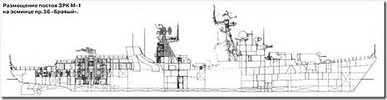 """Размещение постов ЗРК М-1 на эсминце пр.56 """"Бравый"""""""